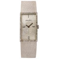 Mathey-Tissot 14 Karat White Gold and Diamond Ladies Wide Bracelet Watch