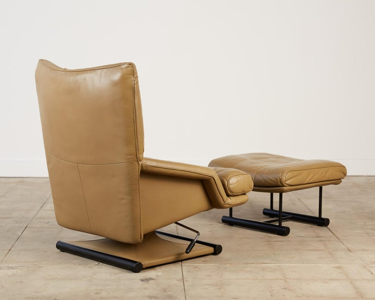 Mathias Hoffmann for Rolf Benz Leather Lounge Chair and Ottoman In Good Condition For Sale In Los Angeles, CA