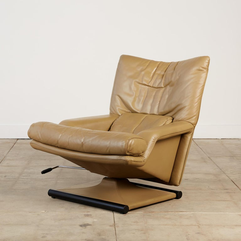 Metal Mathias Hoffmann for Rolf Benz Leather Lounge Chair and Ottoman For Sale