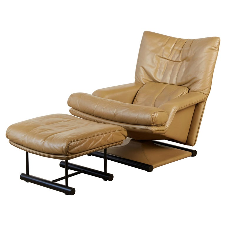 Mathias Hoffmann for Rolf Benz Leather Lounge Chair and Ottoman For Sale