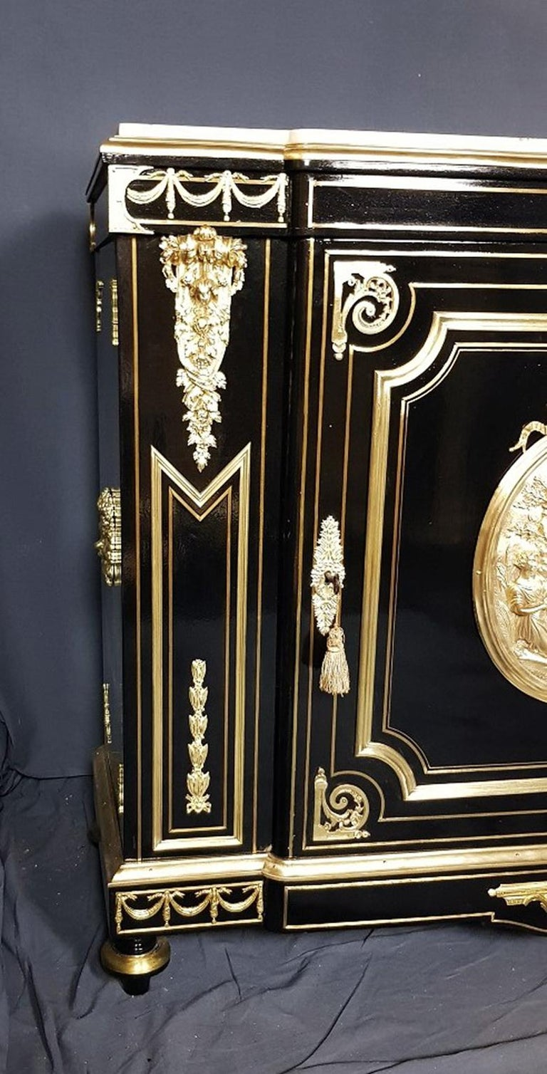 Blackened Mathieu Befort and Boulle Cabinet, Napoleon III, France, 1860