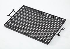 Mathieu Mategot Black Lacquer Perforated Serving Tray, France, 1950