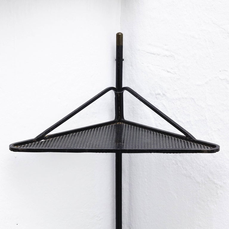 Mid-Century Modern Mathieu Matégot Brass and Black Metal French Corner Shelf, circa 1950 For Sale
