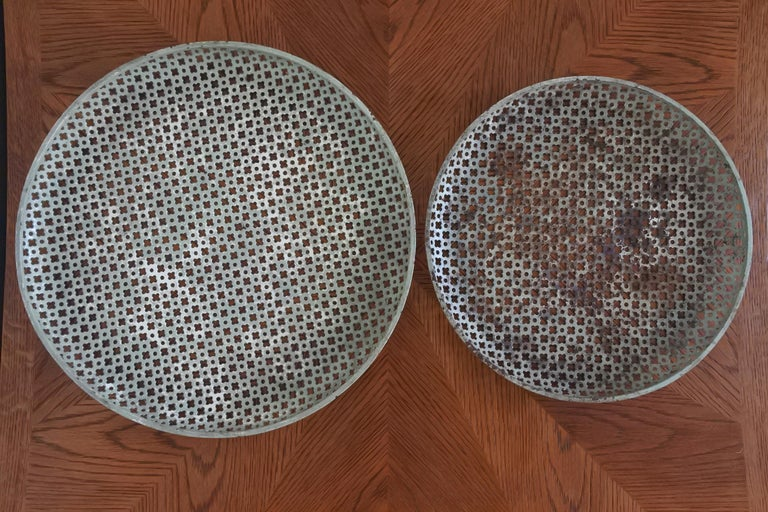 French Mathieu Mategot Documented Set of Two Metal Trays, France, 1950s For Sale