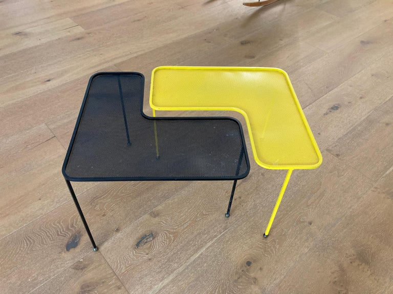 Mathieu Matégot Domino Tables, Black and Yellow, France For Sale 3