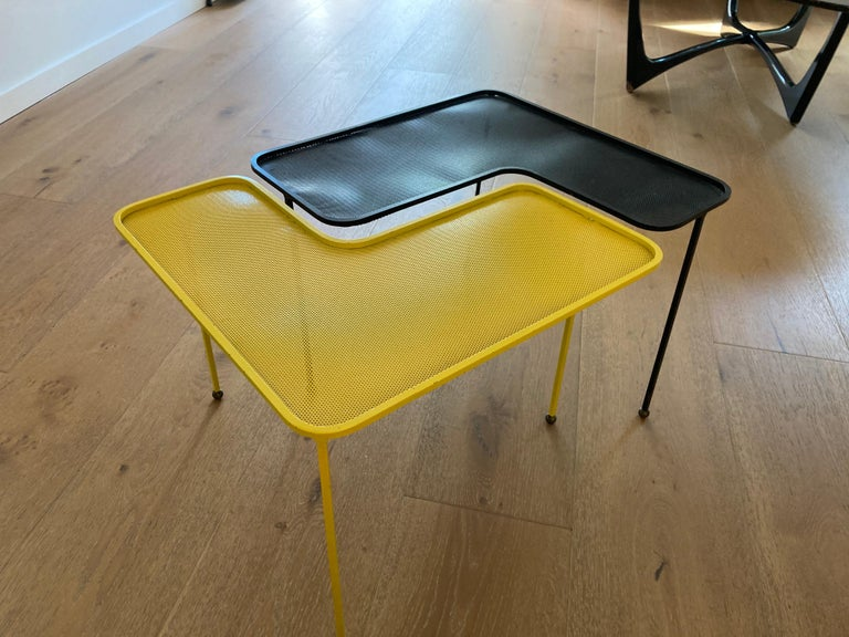 Mathieu Matégot Domino Tables, Black and Yellow, France For Sale 4