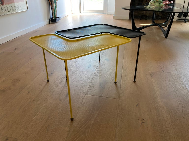Mathieu Matégot Domino Tables, Black and Yellow, France For Sale 5