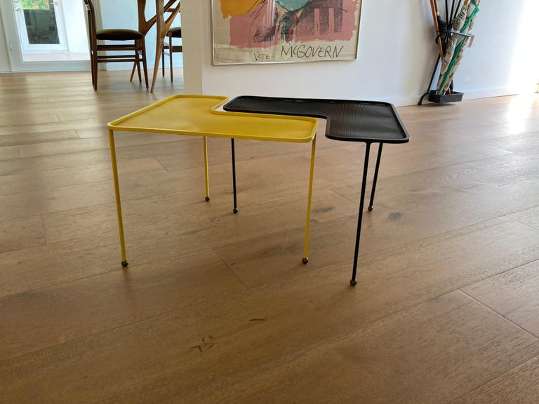Mathieu Matégot Domino Tables, Black and Yellow, France For Sale 6