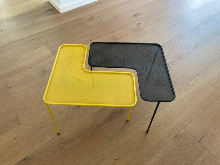 Mathieu Matégot Domino Tables, Black and Yellow, France For Sale 1