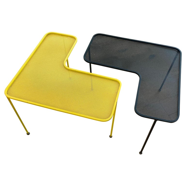 Mathieu Matégot Domino Tables, Black and Yellow, France For Sale