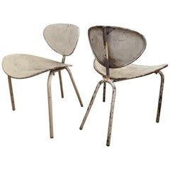 """Mathieu Mategot Early Pair of """"Nagasaki"""" Chair in Vintage Condition"""