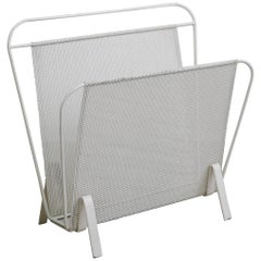 Mathieu Matégot Magazine Rack in White Lacquered Metal, France, 1950s