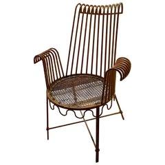 Mathieu Matégot Metal Outdoor Chair Similar to the Cap d'Ail Model, 1950s French
