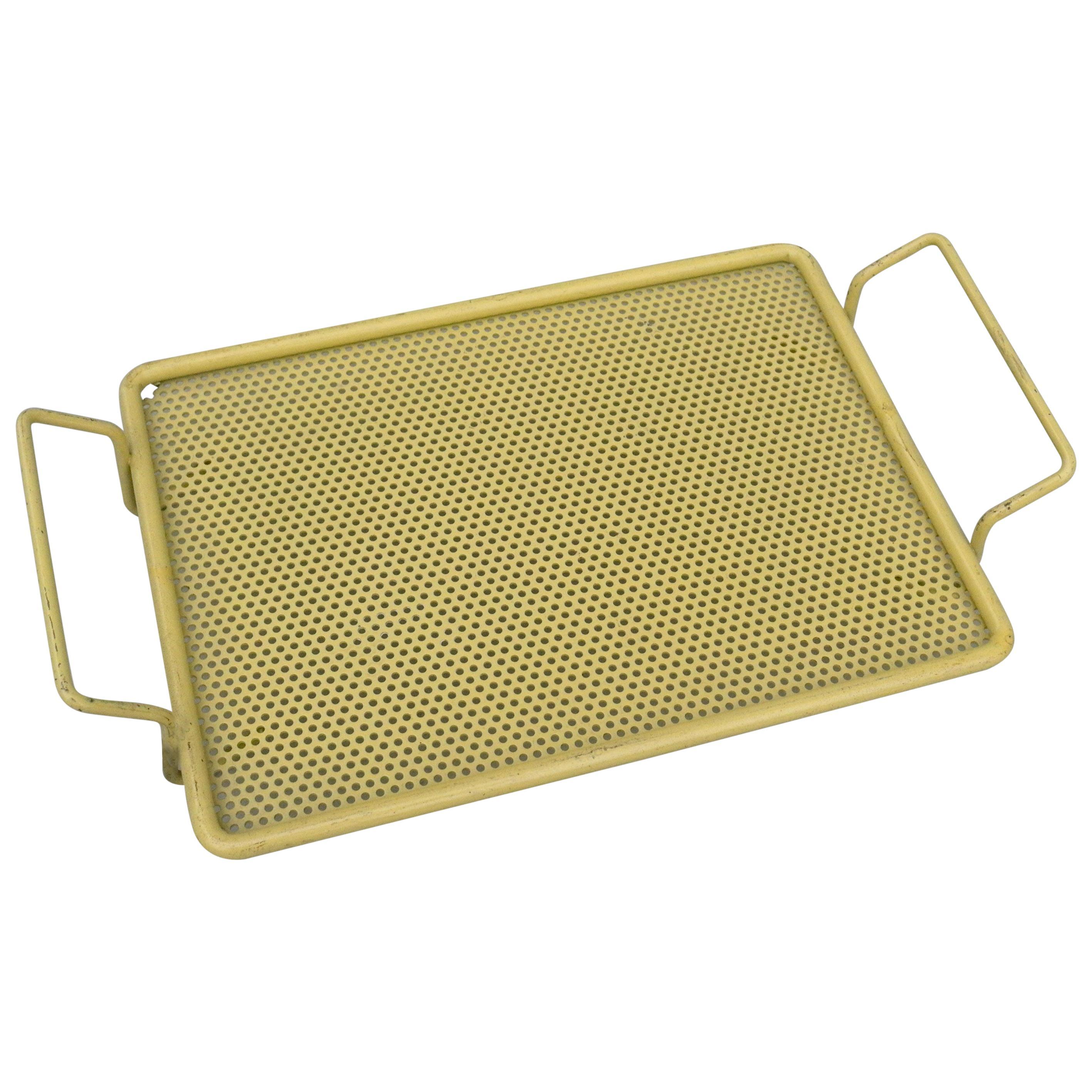 NOS Mathieu Matégot Metal Yellow Bonbonniere Mini serving tray France 1950's