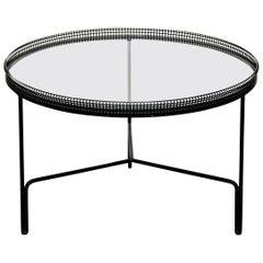 Mathieu Matégot Mid-Century Modern Black Metal and Glass Coffee Table