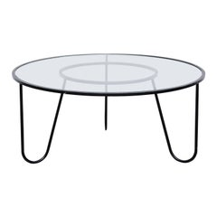 Mathieu Matégot Mid-Century Modern Black Metal and Glass Coffee Table circa 1950