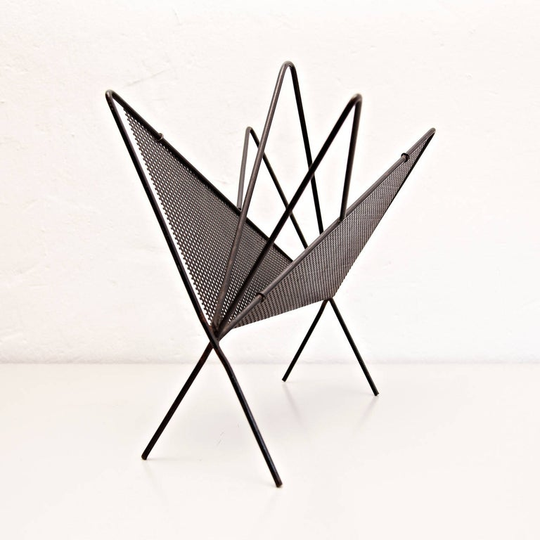 French Mathieu Matégot Mid-Century Modern Black Metal Magazine Holder, circa 1950 For Sale
