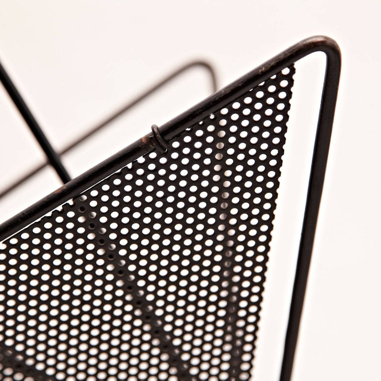 Mid-20th Century Mathieu Matégot Mid-Century Modern Black Metal Magazine Holder, circa 1950 For Sale