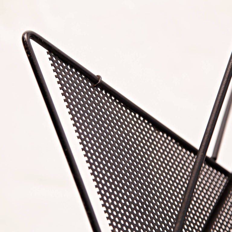 Mathieu Matégot Mid-Century Modern Black Metal Magazine Holder, circa 1950 For Sale 1