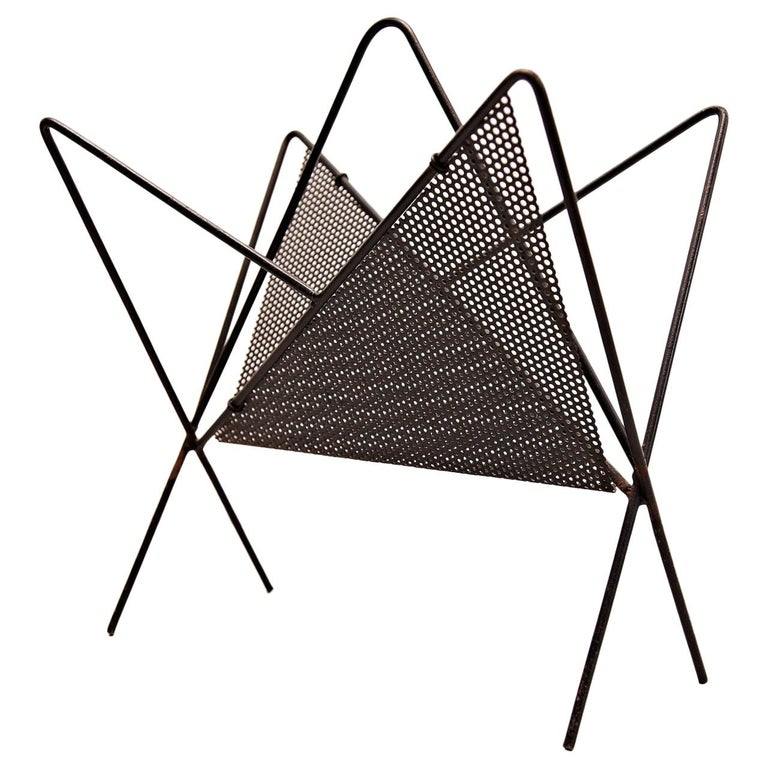 Mathieu Matégot Mid-Century Modern Black Metal Magazine Holder, circa 1950 For Sale