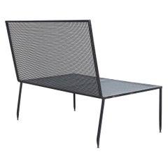 Mathieu Matégot Mid-Century Modern Formalist Black Lacquered Metal Sofa