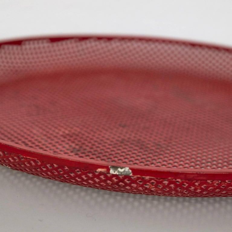 French Mathieu Mategot Mid-Century Modern Red Enameled Metal Plate, circa 1950