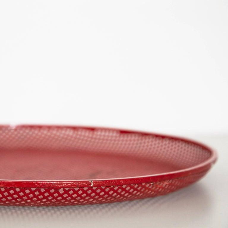 Mid-20th Century Mathieu Mategot Mid-Century Modern Red Enameled Metal Plate, circa 1950