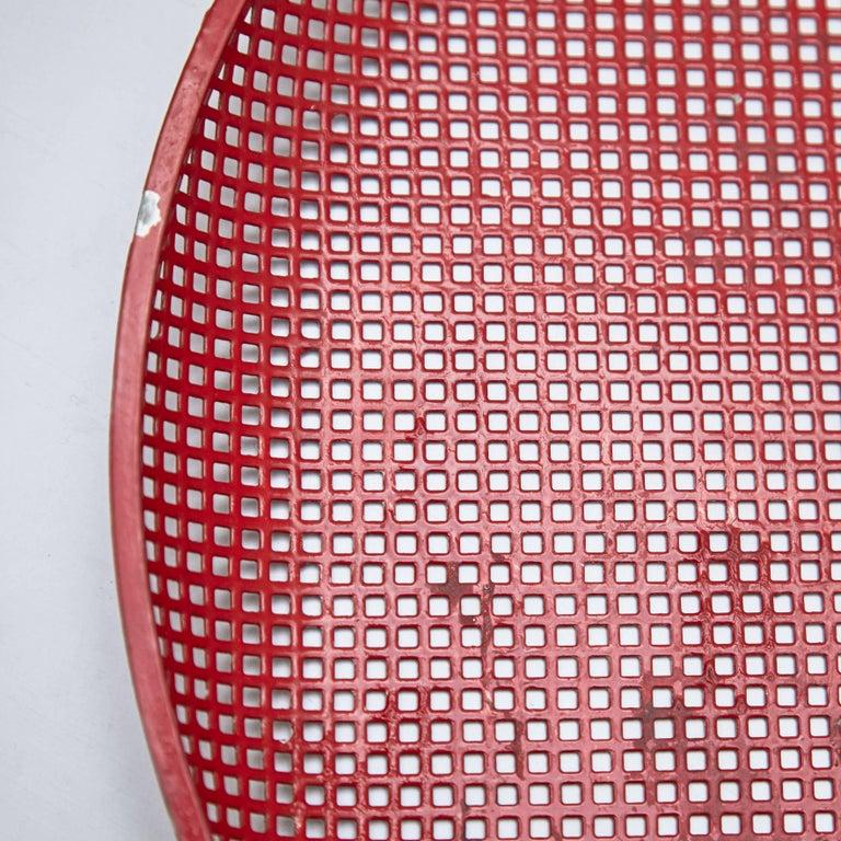 Mathieu Mategot Mid-Century Modern Red Enameled Metal Plate, circa 1950 4
