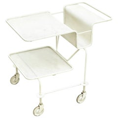 Mathieu Mategot Mid Century Modern White Lacquered French Trolley, circa 1950