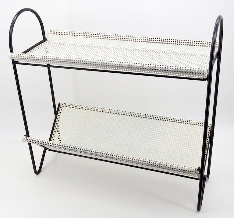 Mid-Century Modern Mathieu Matégot Midcentury End Side Table Magazine Rack, 1950s For Sale