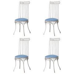 Mathieu Matégot Midcentury Modern Set of Four Chairs, France, 1950