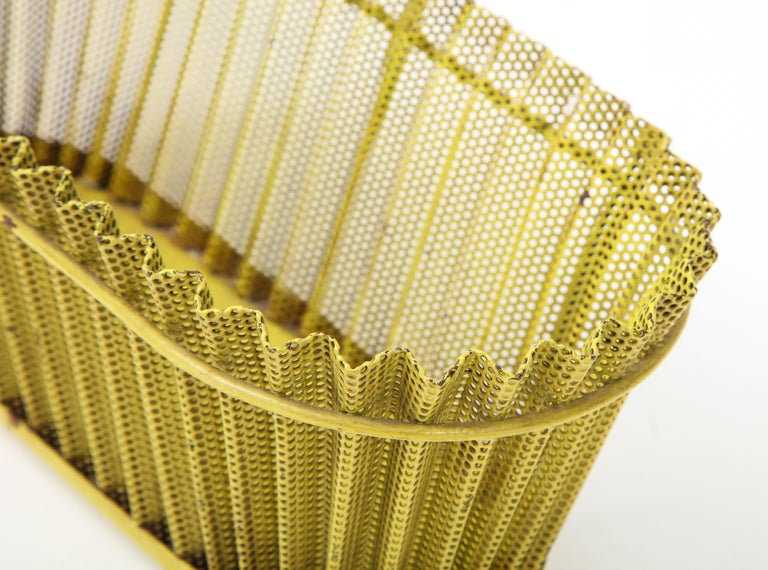 Mathieu Matégot Planter, Perforated Metal, Yellow Lacquer, France For Sale 4
