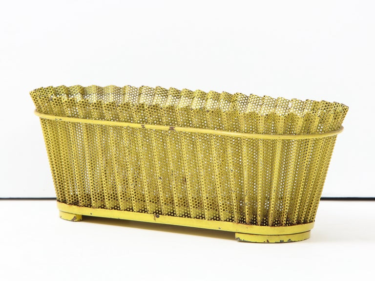 Mathieu Matégot Planter, Perforated Metal, Yellow Lacquer, France For Sale 5
