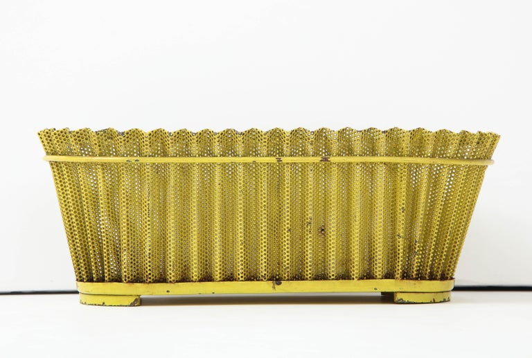 Mathieu Matégot Planter, Perforated Metal, Yellow Lacquer, France For Sale 6