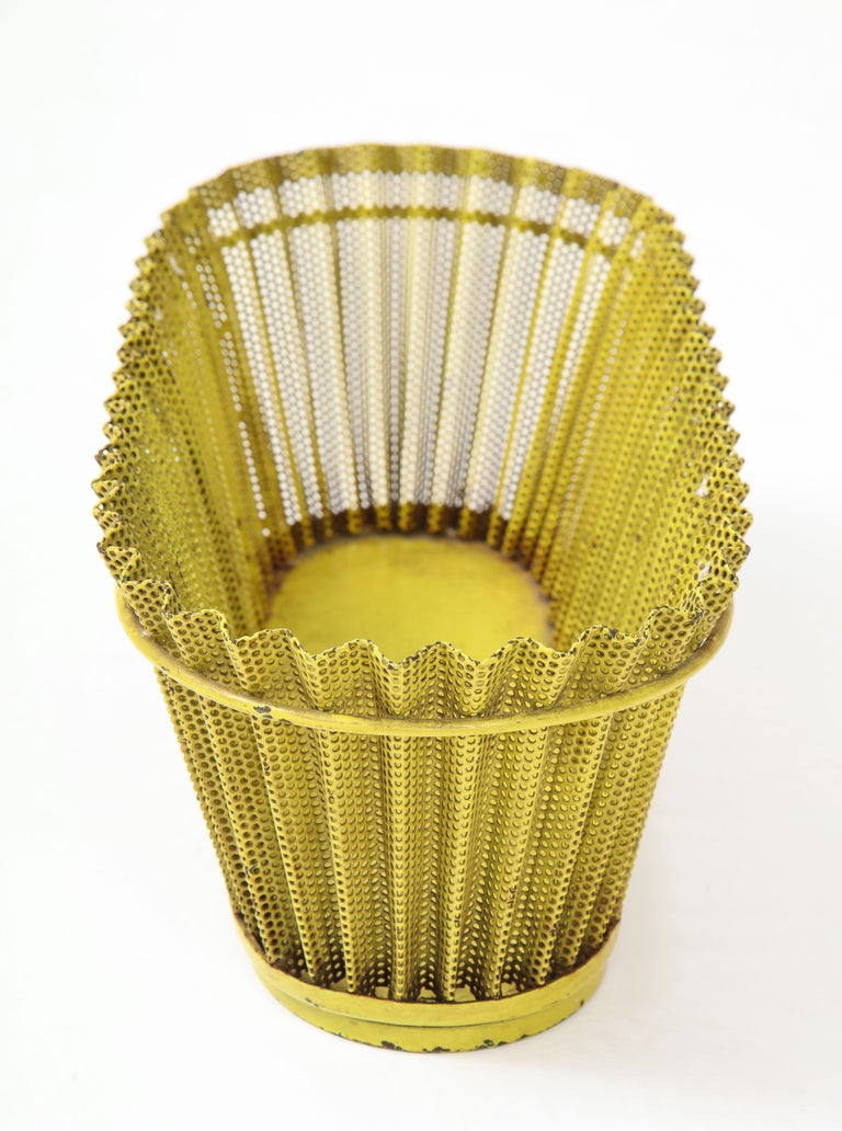 Mid-Century Modern Mathieu Matégot Planter, Perforated Metal, Yellow Lacquer, France For Sale