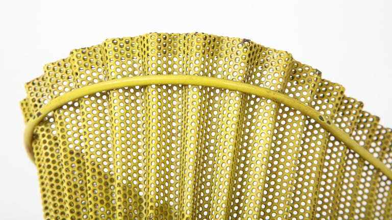 Mid-20th Century Mathieu Matégot Planter, Perforated Metal, Yellow Lacquer, France For Sale