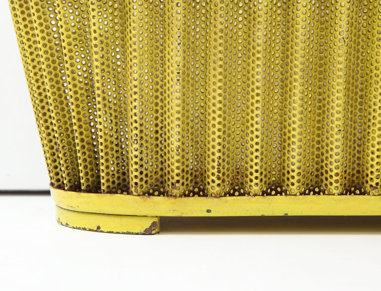 Mathieu Matégot Planter, Perforated Metal, Yellow Lacquer, France For Sale 1