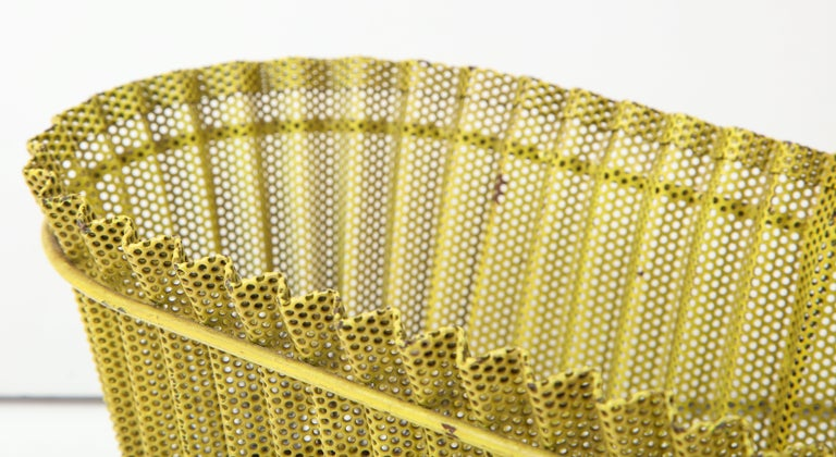 Mathieu Matégot Planter, Perforated Metal, Yellow Lacquer, France For Sale 3