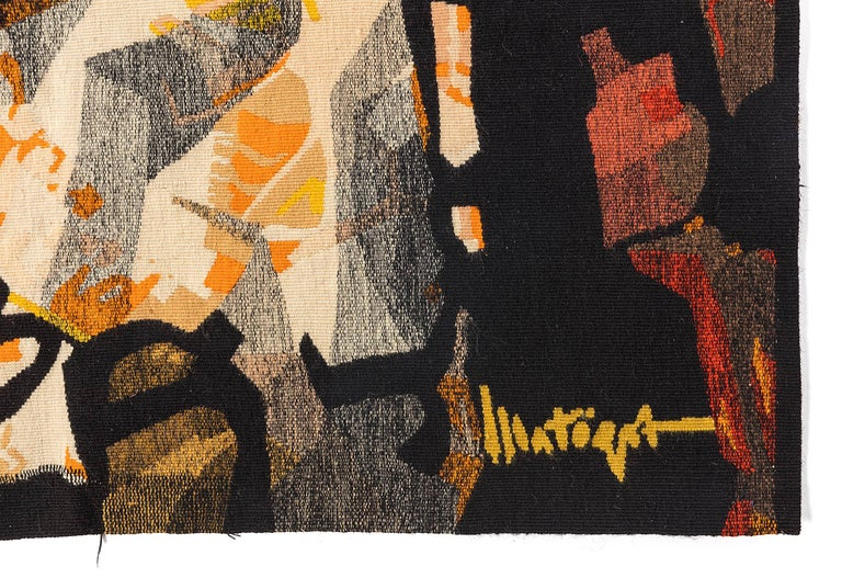 Mathieu Matégot Signed Aubusson Tapestry for Pinton, France, 1960s In Excellent Condition For Sale In New York, NY