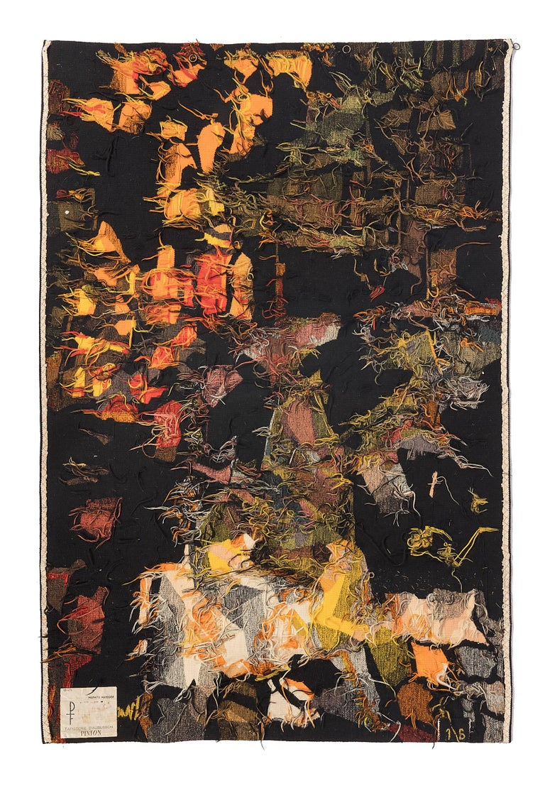 Mid-20th Century Mathieu Matégot Signed Aubusson Tapestry for Pinton, France, 1960s For Sale