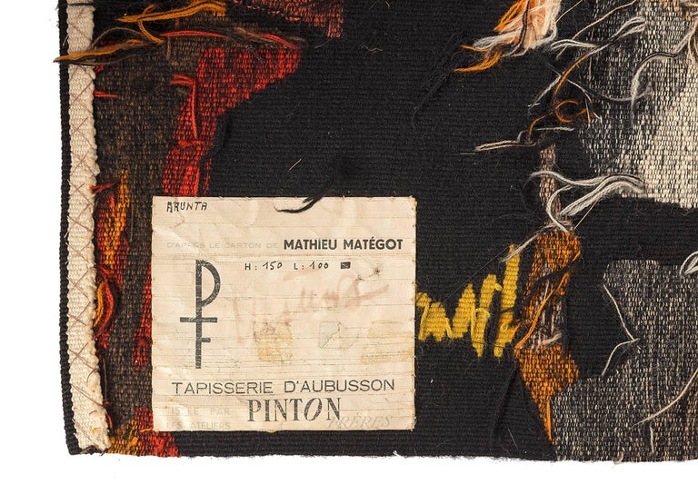 Wool Mathieu Matégot Signed Aubusson Tapestry for Pinton, France, 1960s For Sale