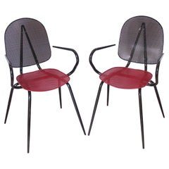 Mathieu Mategot Style Black and Red Metal Chair Armchair, a pair
