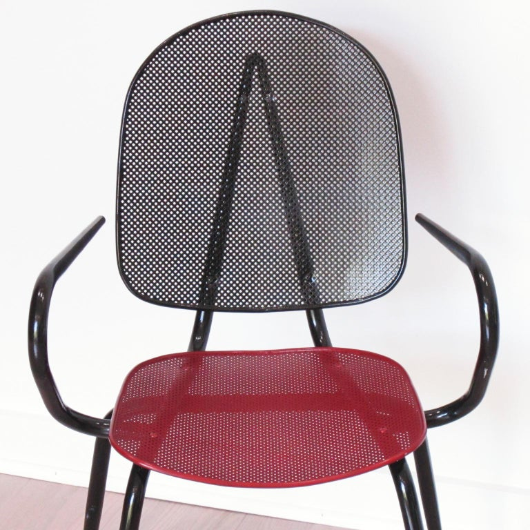 Mathieu Mategot Style Black Red Metal Chair Armchair, a pair For Sale 4
