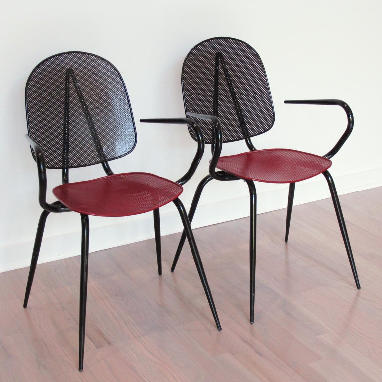 Mid-Century Modern Mathieu Mategot Style Black Red Metal Chair Armchair, a pair For Sale