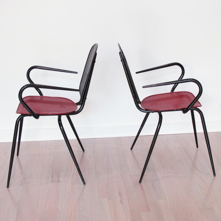 French Mathieu Mategot Style Black Red Metal Chair Armchair, a pair For Sale