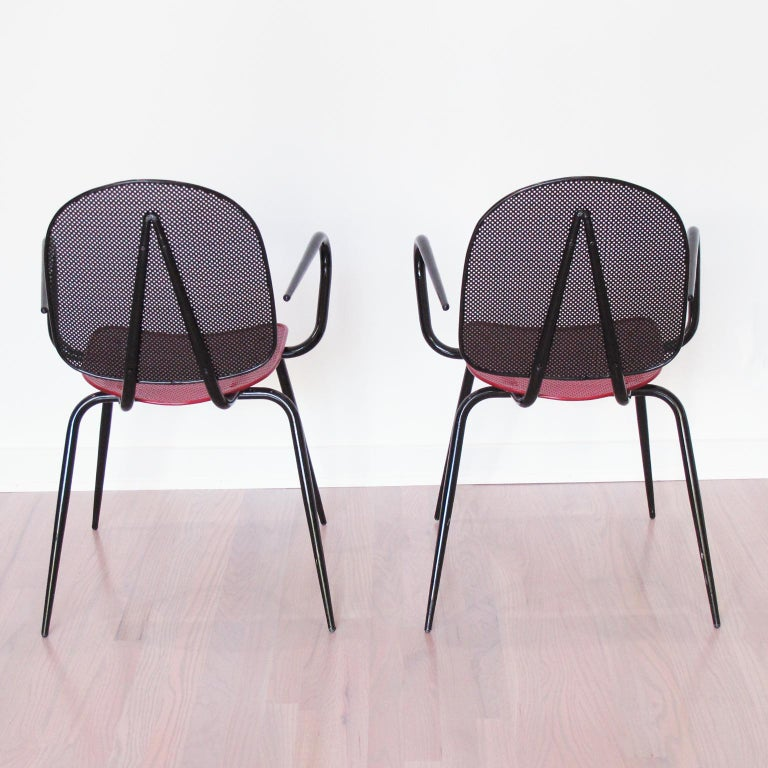 Mathieu Mategot Style Black Red Metal Chair Armchair, a pair In Excellent Condition For Sale In Atlanta, GA