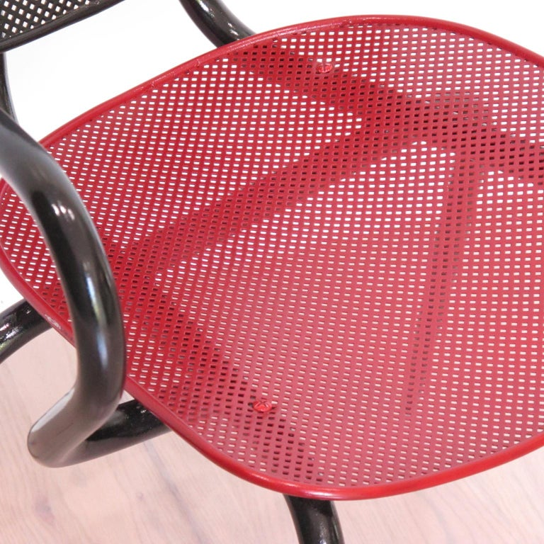 Mathieu Mategot Style Black Red Metal Chair Armchair, a pair For Sale 1
