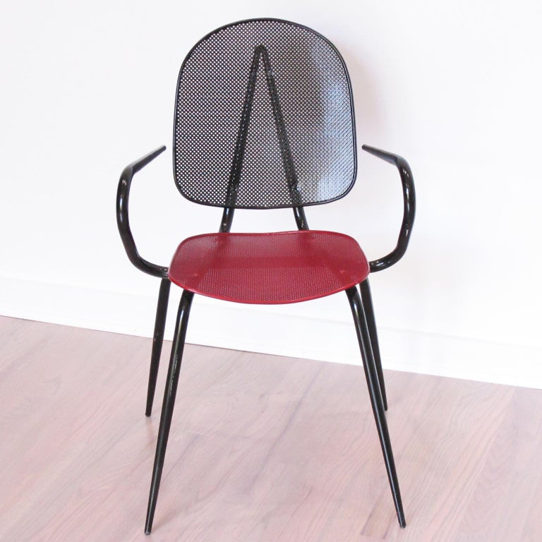Mathieu Mategot Style Black Red Metal Chair Armchair, a pair For Sale 3