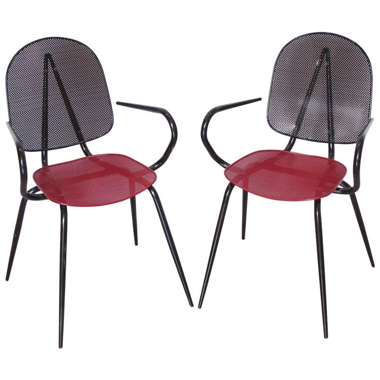 Mathieu Mategot Style Black Red Metal Chair Armchair, a pair For Sale