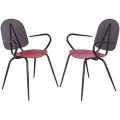 Mathieu Mategot Style Black Red Metal Chair Armchair, a pair